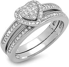 Dazzlingrock Collection 0.23 Carat (ctw) White Diamond Ladies Heart Shaped Engagement Ring Set 1/4 CT