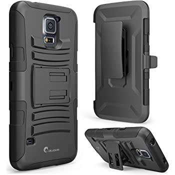 Galaxy S5 Case, i-Blason  Kickstand  Prime Series  Dual-Layer  Holster Case  Locking Belt Swivel Clip for Samsung Galaxy S5 (Black)