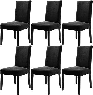 YISUN 6er Set Stretch Kurze Esszimmer Stuhlhussen, Abnehmbare Waschbar Stuhlbezug Stuhl Schutzhülle für Wohnkultur Party Hotel Hochzeitszeremonie (6-Stück, Schwarz)