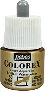 Pebeo Colorex, Watercolor Ink, 45 ml Bottle with Dropper - Pale Gold