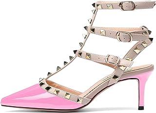ab9729a1b7c Chris-T Women s Pointy Toe Buckle Sandals Studded Slingback Kitten Heels  Studs Leather Dress Pumps