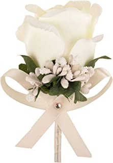 Aivanart Rose Boutonnieres Groom Flower for Wedding Party Prom Man Suit Decoration Ivory