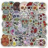 50 Pcs Skull Stickers| Dia de Los Muertos Mexican Day of Dead Decals| Halloween Sugar Skull Waterproof Vinyl Stickers for Water Bottles Bicycle Computer Mobile Phone Skateboard