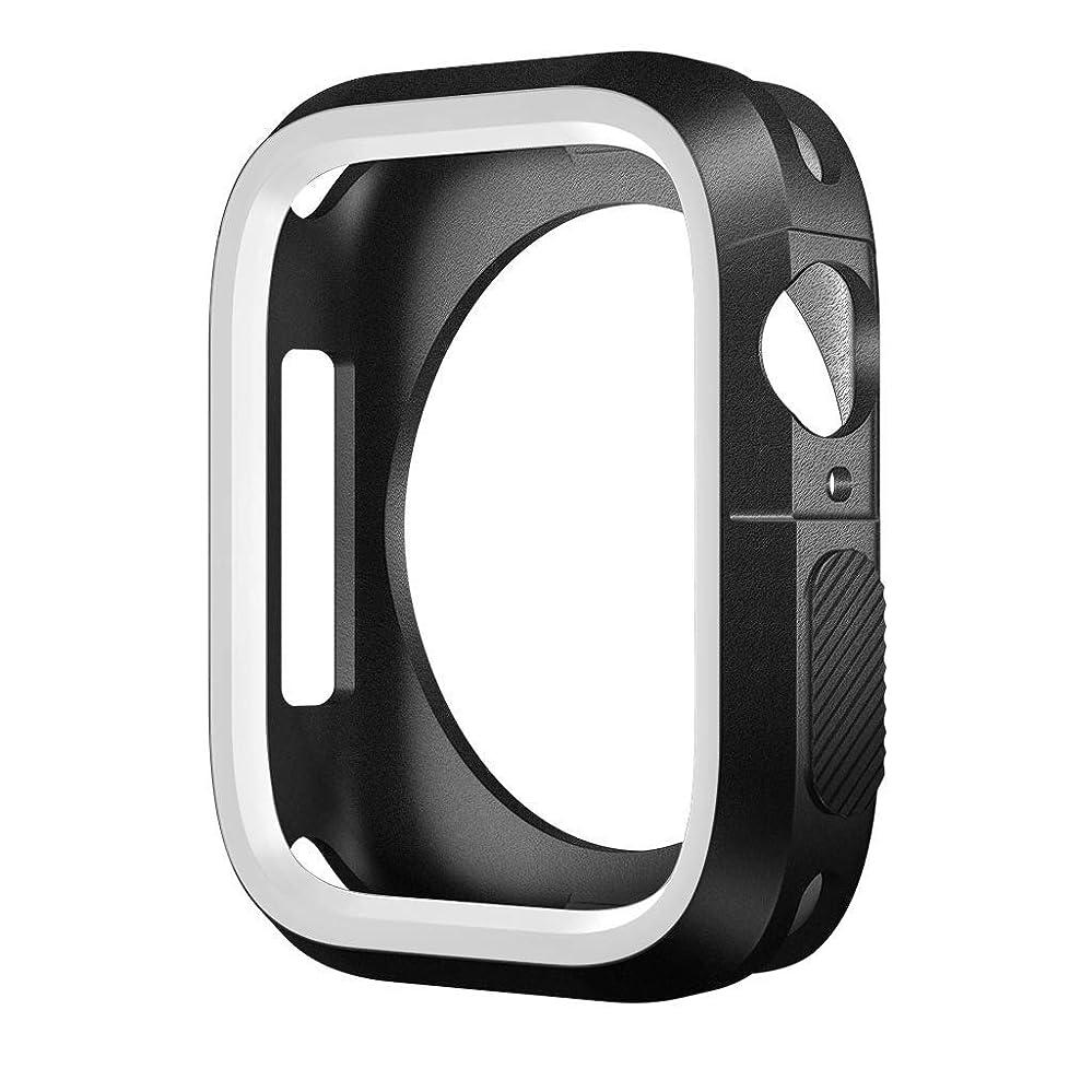 仕事品種者CUHAWUDBA 新しいApple Watch シリーズ 4用のウォッチケース、超薄型 アンチスクラッチ 柔軟 ソフト 耐衝撃 TPUスクリーン保護カバー、 Watch シリーズ 4 44mm用- 白色
