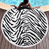 SDFGS Toalla de Playa Bohemia Microfibra Animal Animal Redondo Leopardo Piel de Tigre Toalla de Playa Deportes Personalizados Yoga Verano