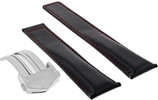 22MM LEATHER BAND STRAP DEPLOY CLASP FOR TAG HEUER MONACO CALIBRE 12 BLACK RED