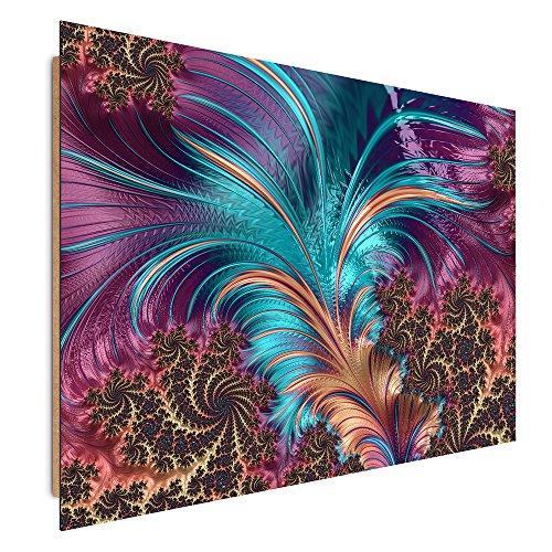 Feeby. Tableau - 1 Partie - 50x70 cm, Décoration Murale Image Imprimée Deco Panel, Plumes, Abstraction, Violet, Bleu