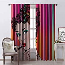 GloriaJohnson Art Heat Insulation Curtain Blue Eyed Lovely Woman with Striped Background Pop Art Advertising Retro for Living Room or Bedroom W52 x L95 Inch Red Eggshell Multicolor