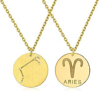 Zodiac Signe Collier Avec Chaîne astrologie Naissance Signe constellation horoscope
