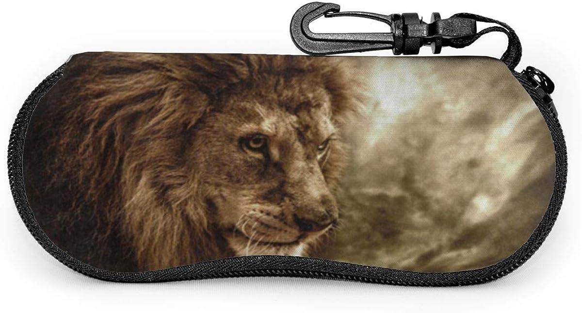Fierce Lion Against Stormy Sky Sunglasses Soft Case Ultra Light Neoprene Zipper Eyeglass Case With Key Chain