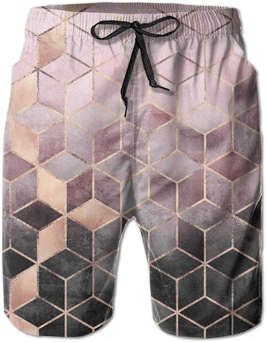 Yt92Pl@00 Men's 100% Polyester Pink Trunks Gradients Grey Swim Cheap mail order specialty New Orleans Mall store