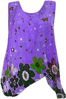 OULSEN Plus Size Women Blouse Boho Floral Round Neck Sleeveless Long Tunics Tops Summer Casual Loose Beach Maxi Shirt Vest Tank Top