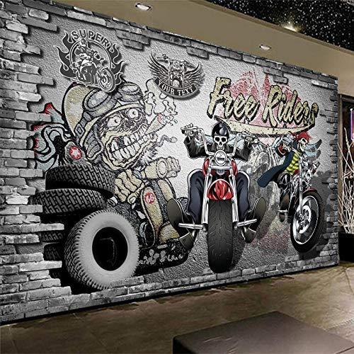 MGQSS Wandgemälde Retro nostalgisches Motorrad Fotos Tapete Bilder Selbstklebend PVC Tapete 3D Jahrgang Friseur Friseur Schönheits-Haar Hintergrund Wandgemälde Tapete 3D Industrie D (B)300x(H)210 cm