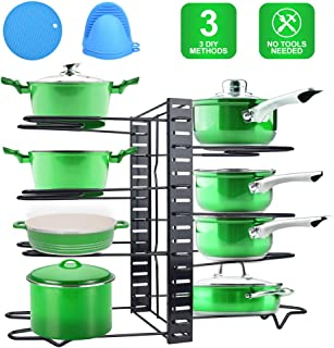 Pan Rack Organizer with 3 DIY Methods, Adjustable Pots and Pans Organizer, 8 Tiers Pot Lid Holder for Cabinet, Kitchen, Pantry (Black)