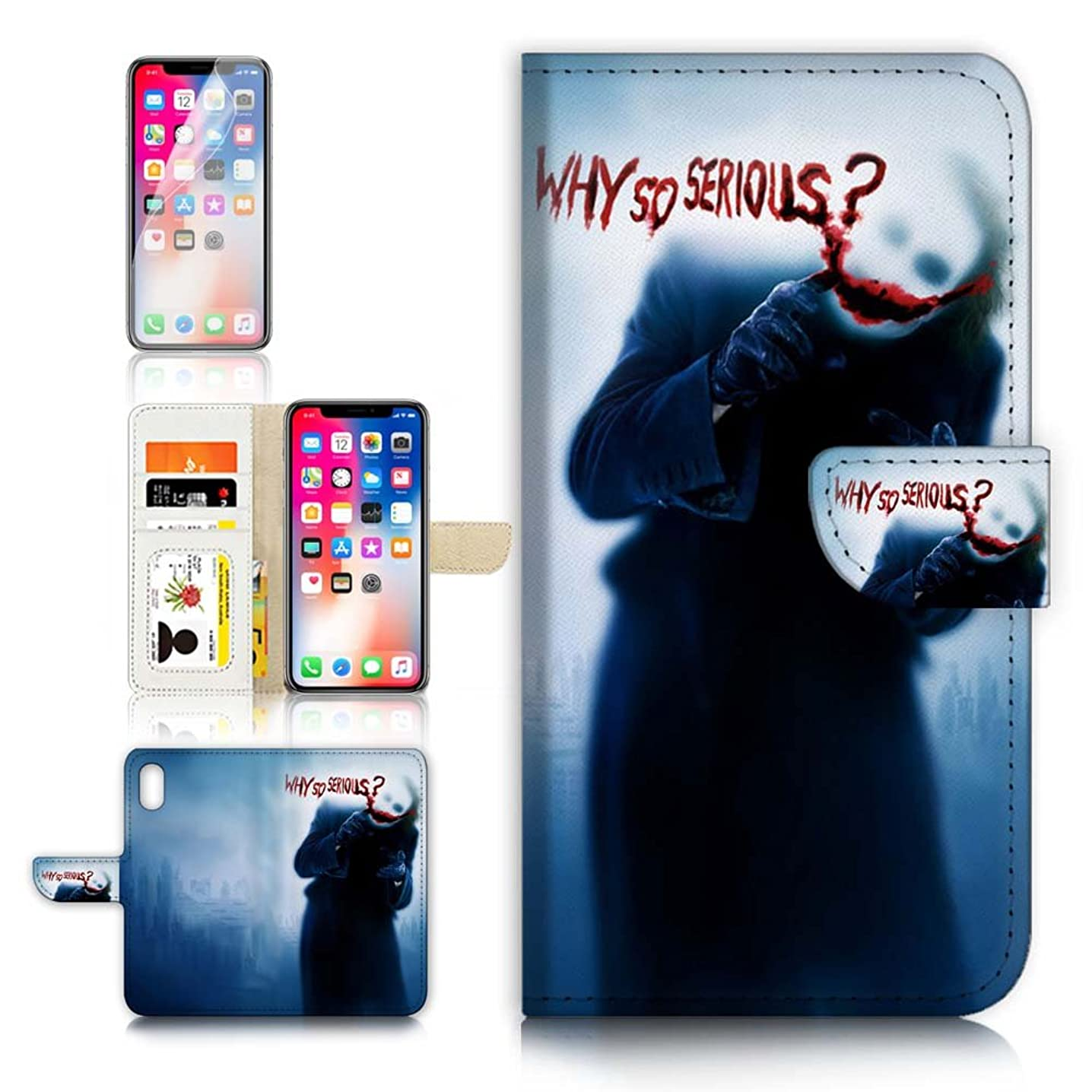 (for iPhone XS MAX) Flip Wallet Case Cover & Screen Protector Bundle - A21179 Joker So Serious