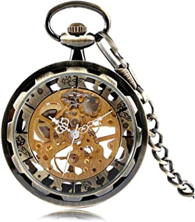 New Skeleton Hand Wind Mechanical Pocket Watches Classic Open Face Transparent Windup Clock Unisex Best Gifts Vintage Pendant Hours Yang (Color : Bronze)