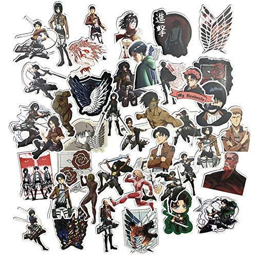 42pcs / 1 Lote Ataque en Titán Etiqueta Anime Icon Pegatinas de Animales Regalos para los niños a Bolsa para Ordenador portátil Pegatinas de Coches