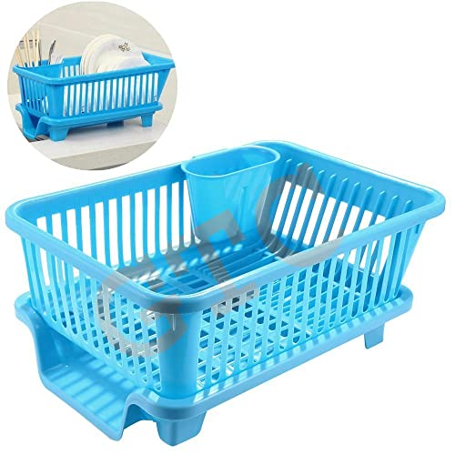 Gtc 3 In 1 Large Sink Set Dish Rack Drainer With Tray For Kitchen - Blue fa701e9a16