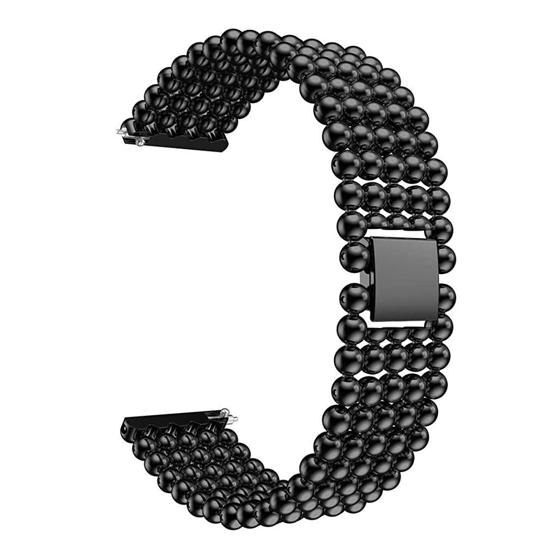 Jessie storee Five Beads Round Beads Alloy Watch Strap for Huawei Watch GT Womens Replacement Wirstband Aluminium Alloy Band for Women Replacement Strap for Men (Black)
