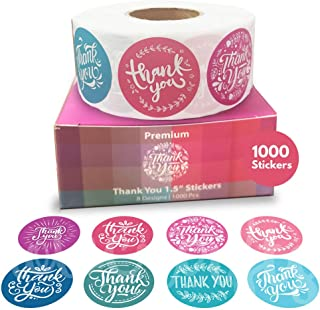 Howcrafts Thank You Stickers Roll of 1000, 8 Designs, 1.5 Inch | Thank You Sticker Roll Boutique Supplies for Business Packaging | Thank You Stickers 1000 for Bubble Mailers & Bags�