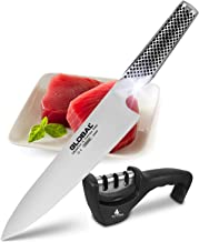 Global G-2 Chef Knife: 8 Inch (20cm) Japanese Gyuto- Best Quality Full Tang CROMOVA 18 High Carbon Stainless Steel Chef's Knives W/Top Selling 3-Step Sharpener by KitchenWitch