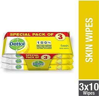 Dettol Fresh Anti-Bacterial Skin Wipes - Pack Of 10, 2+1 Free