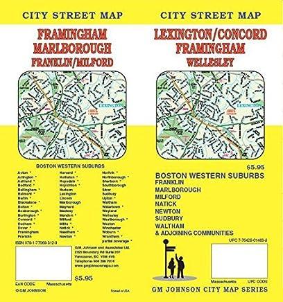 Lexington / Concord / Framingham, MA Street Map by GM Johnson (2013-05-14)