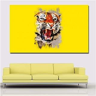 Cuadro Abstracto de Cabeza de Tigre con Fondo Amarillo, Lienzo Impreso para Pared con impresión de pósteres para Sala de Estar, decoración del hogar, 60 x 90 cm, sin Marco