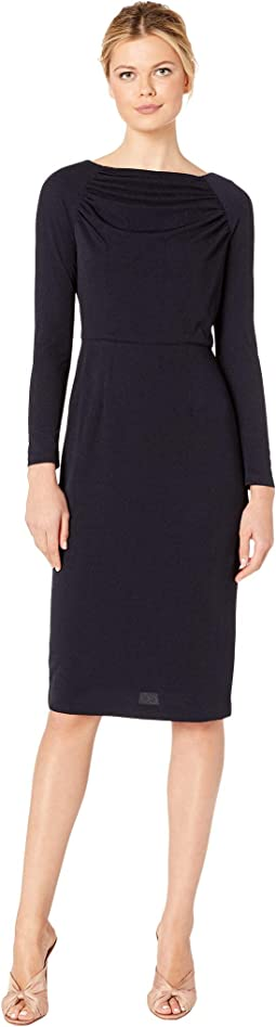 Evening Crepe Sheath Dress with Shirring Detail At Neck