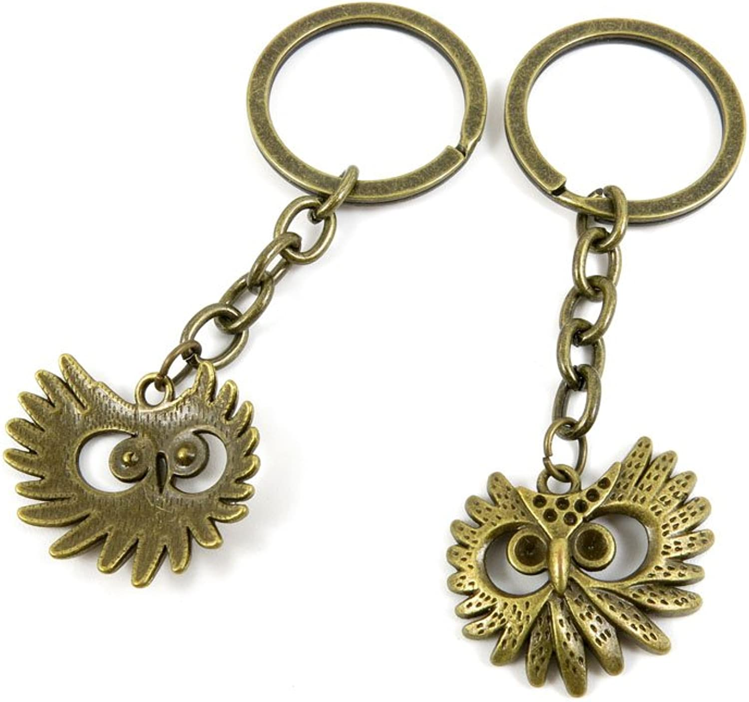 100 PCS Keyrings Keychains Key Ring Chains Tags Jewelry Findings Clasps Buckles Supplies X9FN6 Owl