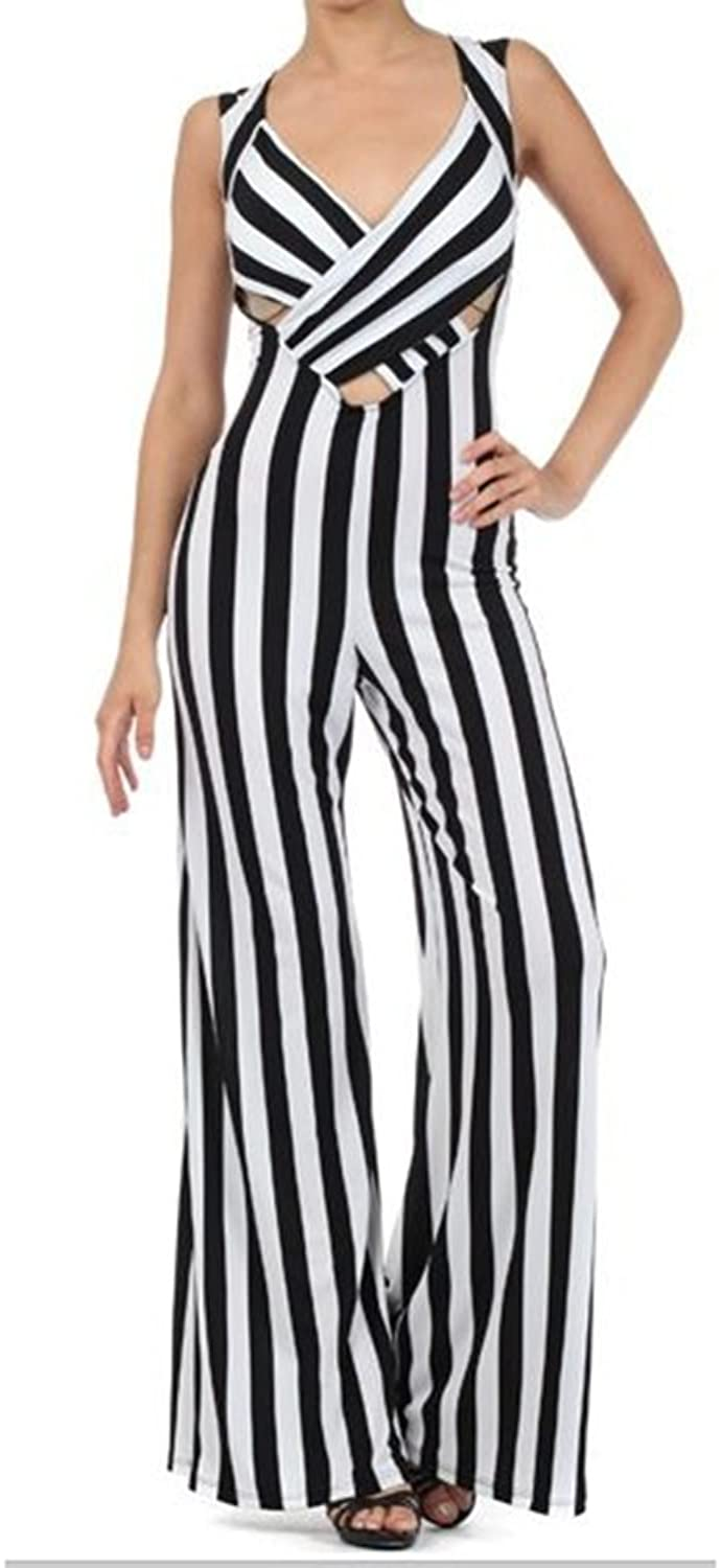 Bloom Stripe Flair Leg Cut Out Jumpsuit