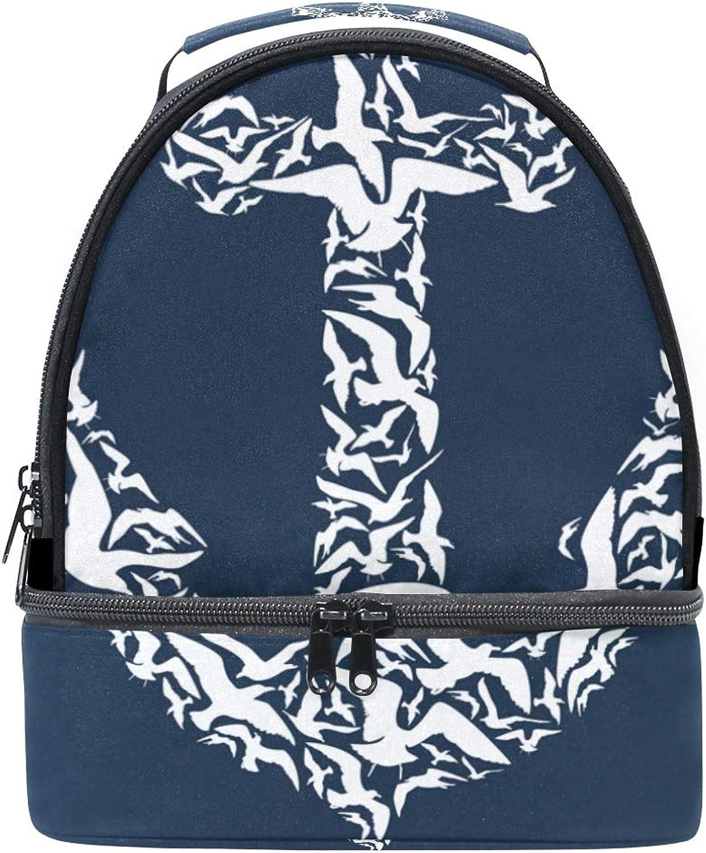 Lunchtasche mit Schultergurt, Weiß mit Anker und Blau B07HDMX16Z  Schöne Kunst