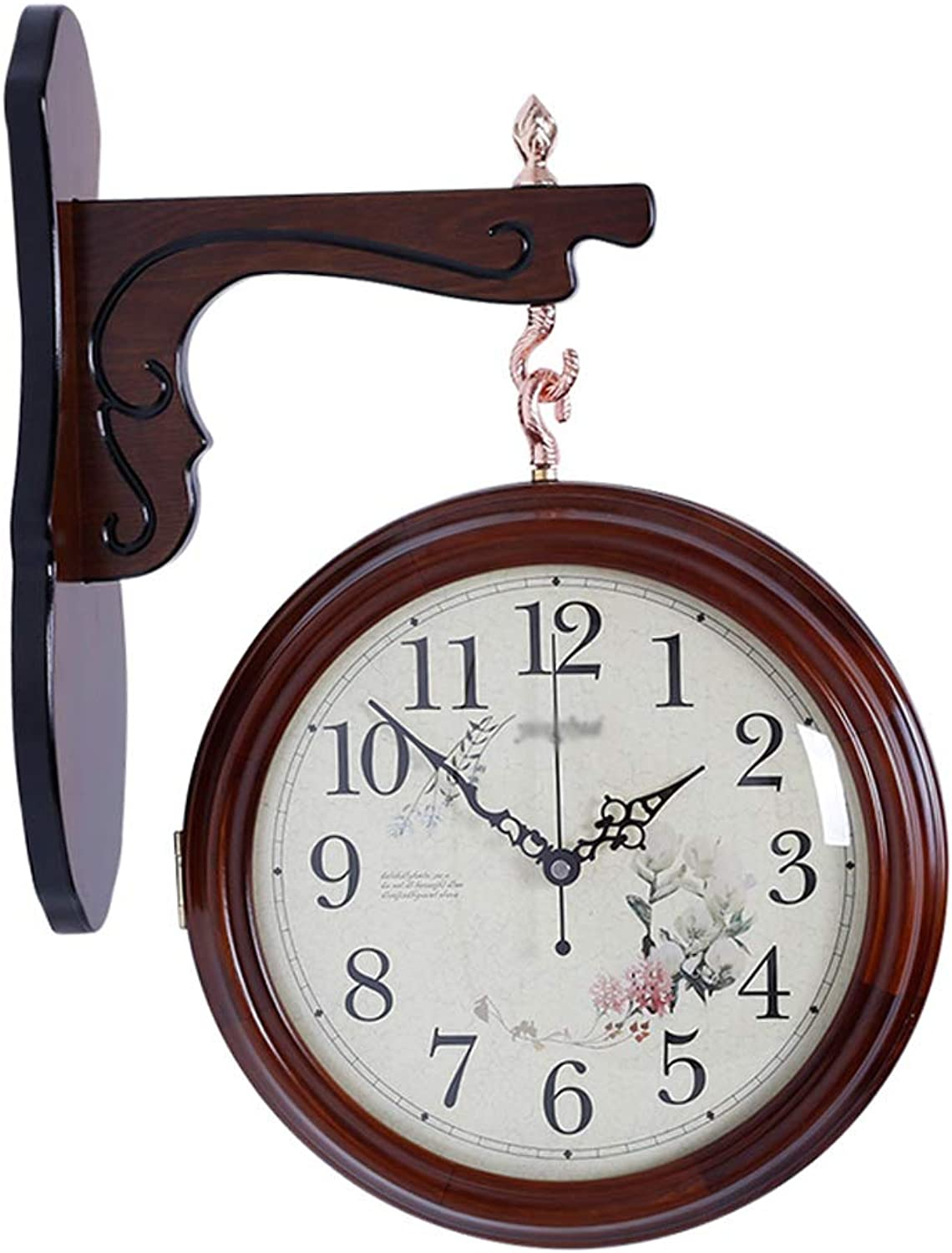 YONGMEI Wall Clock - Solid Wood Double-Sided Wall Clock Quartz Clock Mute Living Room Restaurant high-end Wall Clock Creative Modern Table (color   Brown, Size   51  40cm)