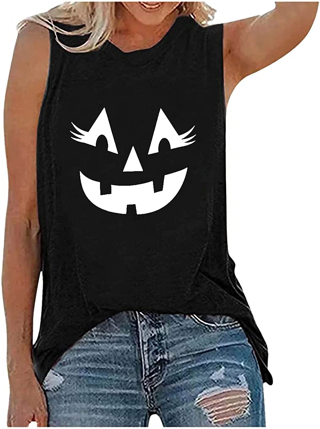 Kinple Halloween Sleeveless Crew Neck Tank Tops for Women Summer Black Funny Printed Loose Fit Workout Athletic Yoga Shirts