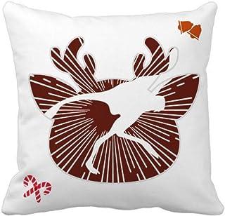 OFFbb-USA - Funda de almohada cuadrada con plumas de pájaro, diseño de Navidad
