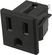 uxcell US Plug AC 125V 15A Panel Mount Outlet Power Socket Black