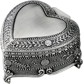 YouTang Heart-Shaped Emboss Alloy 18-Note Wind-up Musical Box Music Box,Musical Toys,Tune:Blue Danube