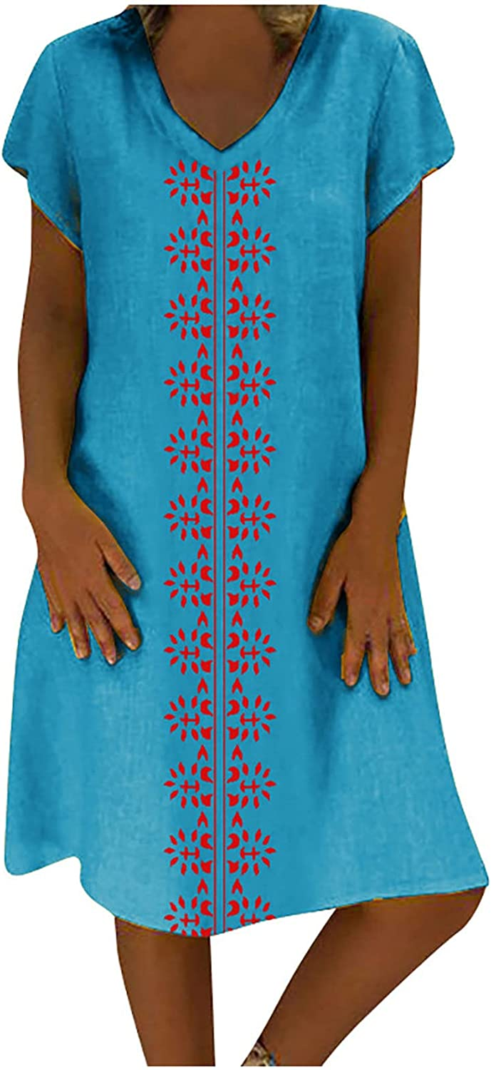 Howley Women Challenge the lowest price Tunic Dress V Neck Ca Max 42% OFF Sleeve Printed Sundress Short