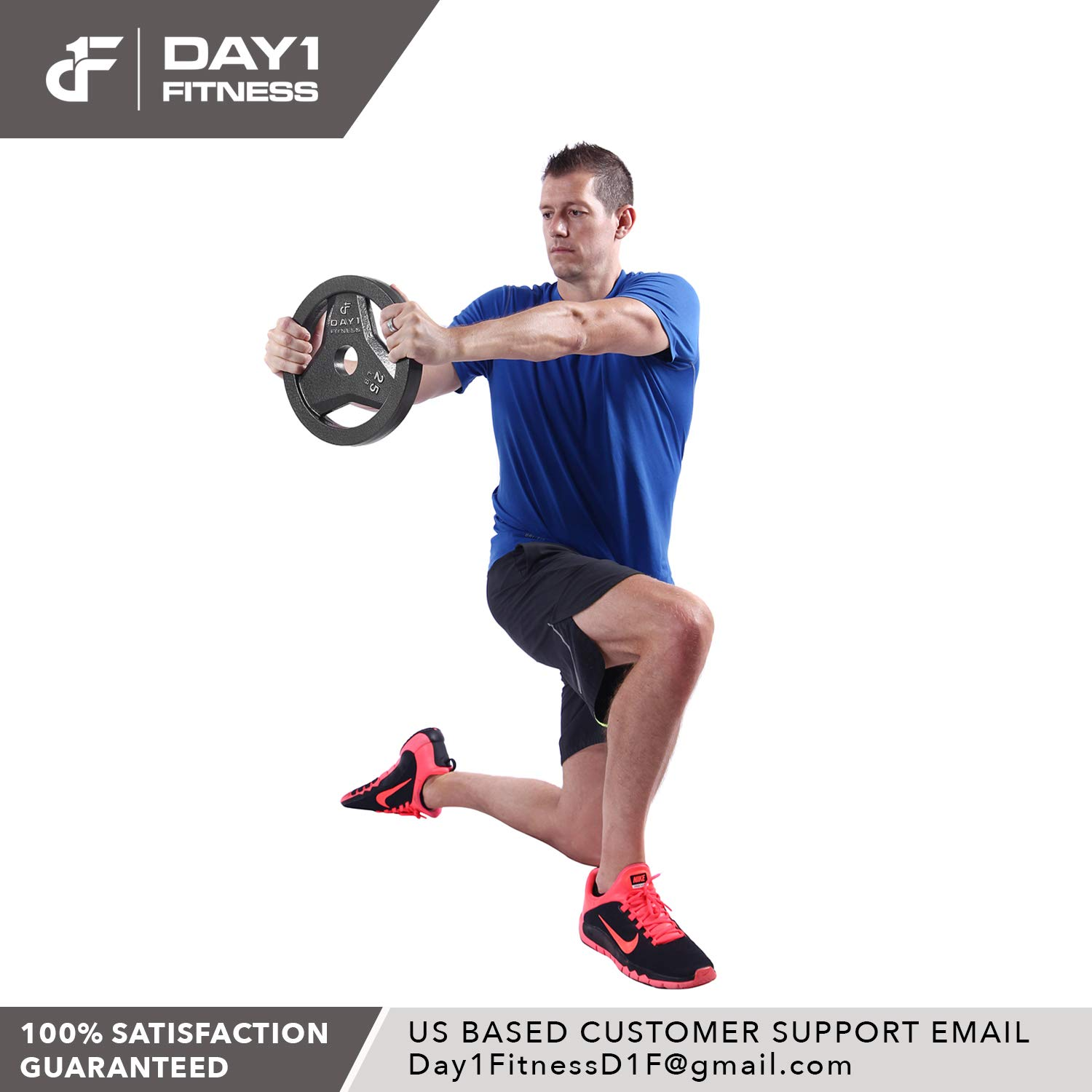 """Day 1 Fitness Cast Iron Olympic 2-Inch Grip Plate by D1F for Barbell, 6 Weights Available (2.5 to 45lbs) Plates for Weightlifting - 2"""" Weight Plate for Bodybuilding - Singles or Pairs"""