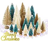 Artificial Frosted Mini Sisal Christmas Trees, Bottle Brush Trees with Wood Base DIY Crafts for Christmas Home Table Top Decor Winter Ornaments,with Merry Christmas Letters and Snowflakes Confettis