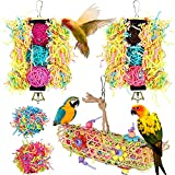 AIDIYA Juguetes para pájaros 3 paquetes de jaula para pájaros con forma de periquito, columpio para masticar, perchas colgantes con campana, hamaca de escalera de madera para conuras