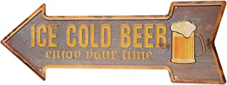 Ochoice Bar Signs Retro Ice Cold Beer Signs for Wall Decoration