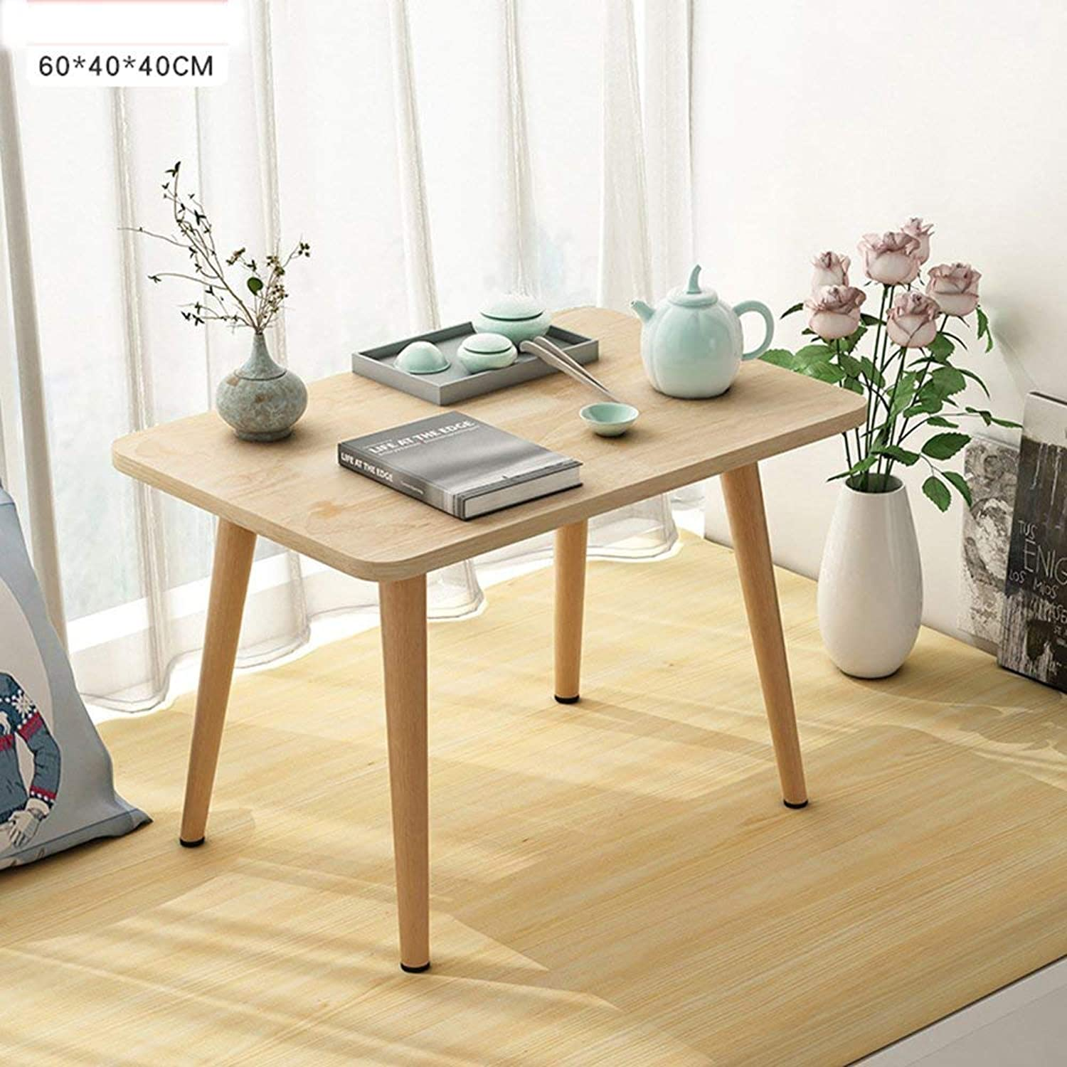 Home Practical Folding Table Multifunction Small Table Household Side Wood Dining Natural Mini Tea Bedroom Simple Study Table (color   48  38  28cm)