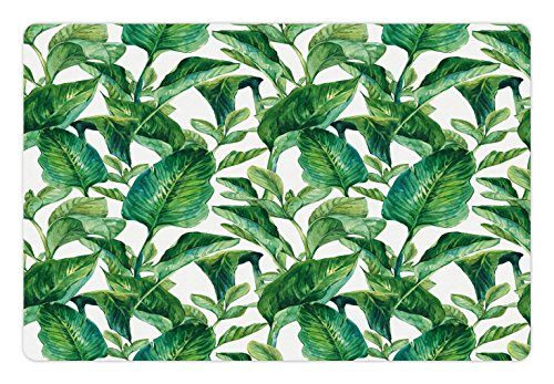 Ambesonne Leaf Pet Mat for Food and Water, Romantic Holiday Island Hawaiian Banana Trees Watercolored Image, Non-Slip Rubber Mat for Dogs and Cats, 18