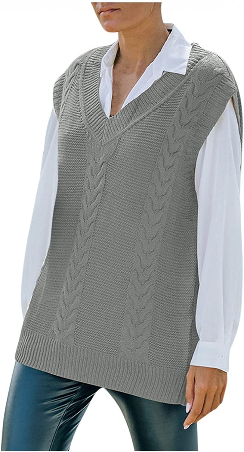 HUOJING Sweater Vest for Women Preppy Style Knitwear Tank Tops Solid Color Loose Sleeveless V-Neck Undershirt