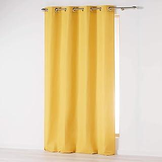 douceur d'intérieur Absolu Rideau a Oeillets 140 x 260 cm Microfibre Unie ABSOLU Polyester, Moutarde, 260x140 cm
