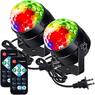 LUNSY Party Lights Sound Activated Disco Ball Lamps Strobe Light, 7 Lighting Color dj Lights with Remote Control for Bar Club Party DJ Karaoke Xmas Wedding Show Indoor and Outdoor (2 Pack)
