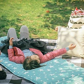 KAIXIN Matelas Pliant en Coton Ultra Doux pour Enfants Ou Tapis De Sieste Adulte Tapis De Couchage De Bureau avec Oreiller Amovible (Étoile Bleue)