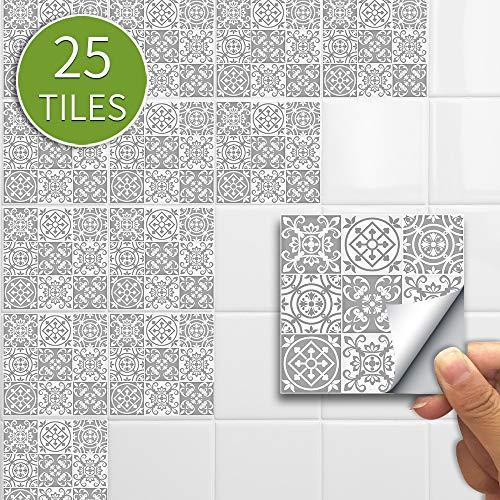 JASIN Muurstickers, Retro Grijs Marokkaanse Toilet Renovatie Tegel Stickers 25 Stuks PVC Decoratieve Muurstickers