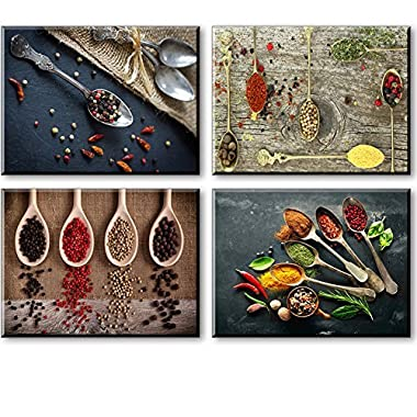 Kitchen Pictures Wall Decor, SZ 4 Piece Set Spice and Spoon Vintage Canvas Wall Art, Ready to Hang Retro Canvas Prints